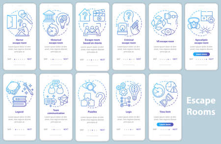Écran de page d'application mobile d'intégration de la salle d'évasion avec des concepts linéaires. Classement du jeu de quête. Instructions pas à pas pour les graphiques dégradés bleus. Pack d'illustrations de modèles vectoriels UX, UI, GUI Vecteurs