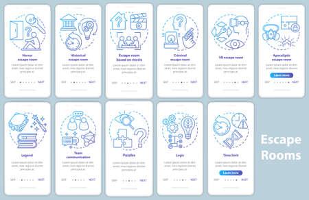 Escape room onboarding mobile app page screen set with linear concepts. Quest game classification. Walkthrough blue gradient graphic instructions. UX, UI, GUI vector template illustrations pack Vektoros illusztráció