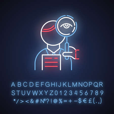Proofreading service neon light icon. Professional proofreader. Text editing, mistake correction. Document translation quality control. Glowing alphabet, numbers. Vector isolated illustration