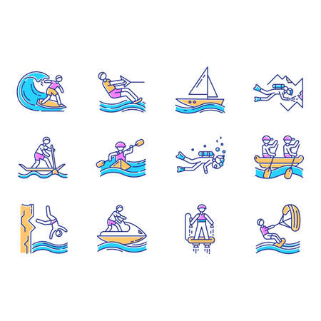 Watersports color icons set. Cave diving, kiteboarding, flyboarding and jet skiing. Cliff jumping and paddle surfing. Watercraft and extreme kinds of sport. Isolated vector illustrations