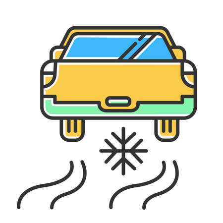 Ice driving yellow color icon. Winter extreme sport, risky activity and adventure. Cold season outdoor dangerous leisure. Automobile riding on snow covered surface. Isolated vector illustration