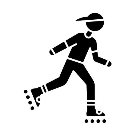 Inline skating glyph icon. Freestyle rollerblading. Fitness skating.