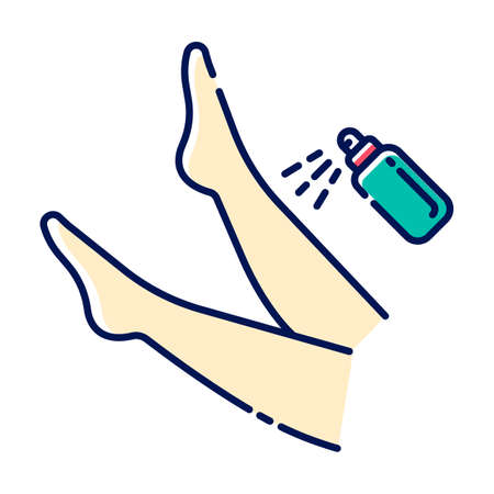 Leg spray beige color icon. Shin hair removal process step. Moisturizing, skin care after depilation. Professional beauty treatment. Healthy and silky skin. Isolated vector illustration Vettoriali