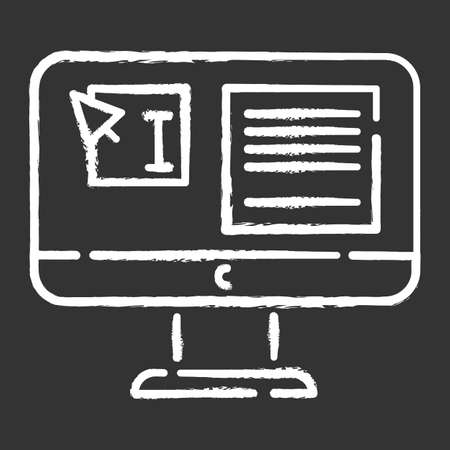 Website localization, DTP services chalk icon. Text editing, mistake correction. Document page layout. Graphic processing. Website localization. Isolated vector chalkboard illustration