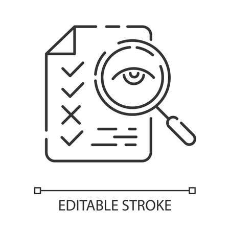 Professional proofreading service linear icon. Text editing, mistake correction. Document quality control. Thin line illustration. Contour symbol. Vector isolated outline drawing. Editable stroke