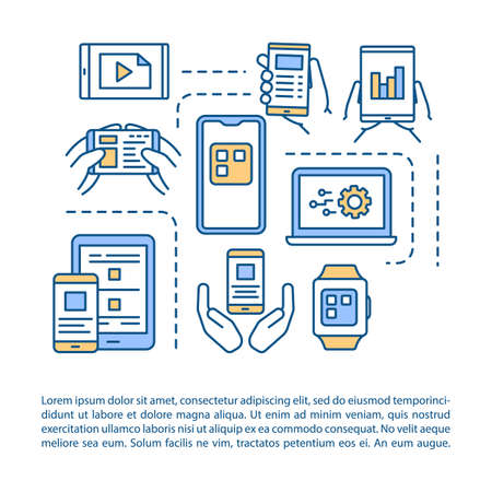 Mobile device coding article page vector template. App programming. Portable gadgets. Brochure, magazine, booklet design element with linear icons. Print design. Concept illustrations with text