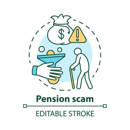 Pension scam concept icon. Fraud to retired person. Losing savings danger. Illegal scheme. Financial deception of elderly idea thin line illustration. Vector isolated outline drawing. Editable stroke Illusztráció