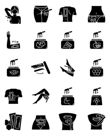 Waxing glyph icons set. Female, male hair removal procedure. Cold, hot wax in jar with spatula. Depilation equipment. Beauty treatment cosmetics. Silhouette symbols. Vector isolated illustration