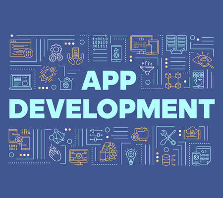 App development word concepts banner. Computer programming language. Mobile software coding. Presentation, website. Isolated lettering typography idea with linear icons. Vector outline illustration Standard-Bild - 133496498