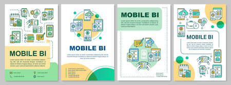Mobile BI brochure template. Business Intelligence. Flyer, booklet, leaflet print, cover design, linear illustrations. Vector page layouts for magazines, annual reports, advertising posters 向量圖像