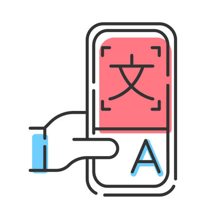 Online dictionary application color icon. Instant machine translation. Translation services. Smartphone translator app. Language learning means. E-learning. Isolated vector illustration