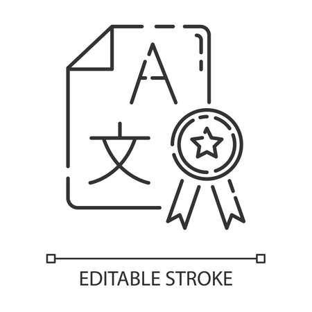 Language translation services linear icon. Interpretation agency. Translator license. Certified translation. Thin line illustration. Contour symbol. Vector isolated outline drawing. Editable stroke Illustration