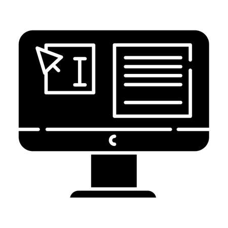 Website localization, DTP services glyph icon. Text editing, correction. Document page layout. Graphic processing. Website localization. Silhouette symbol. Negative space. Vector isolated illustration