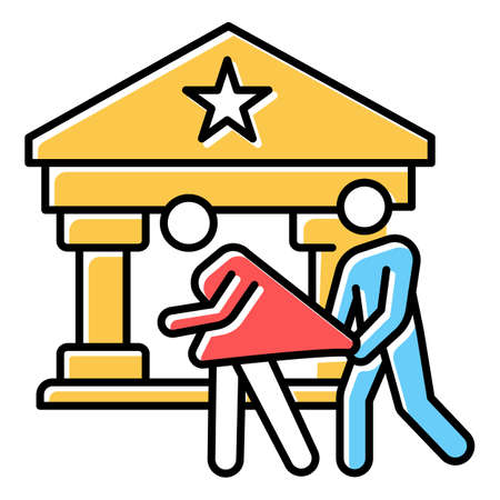 Custodial rape red, blue, yellow color icon. Women abuse of person in supervisory position. Violent behavior of policeman. Sexual harassment, assault of female. Isolated vector illustration