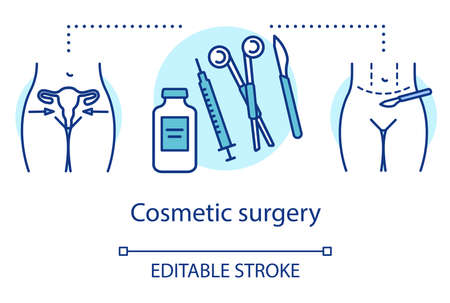 Cosmetic surgery concept icon. Medical equipment idea thin line illustration. Plastic surgical procedures. Aesthetic body. Healthcare, beauty. Vector isolated outline drawing. Editable stroke Archivio Fotografico - 133496579