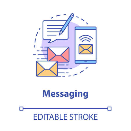 Messaging concept icon. Mailing idea thin line illustration. Online communication with instant text messages. Internet chatting through app. Vector isolated outline drawing. Editable stroke