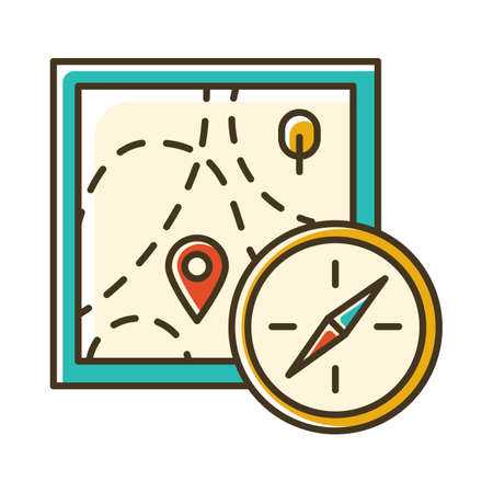 Foot orienteering color icon. Topographical map and compass. Navigating in unfamiliar terrain. Navigation equipment. Hiking, tracking. Marked route. Extreme sport. Isolated vector illustration