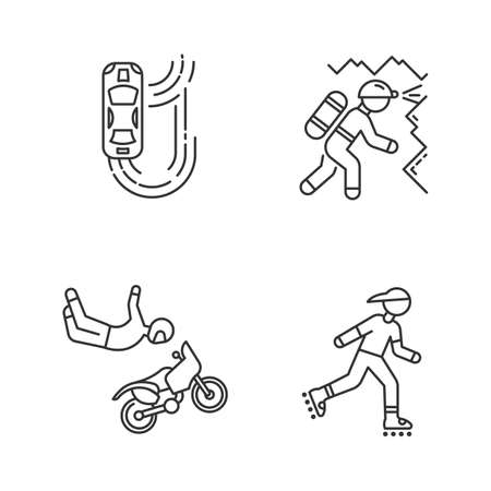 Extreme sports linear icons set. Auto racing. Caving, spelunking. Motorcycle stunt riding. Motocross. Inline skating. Thin line contour symbols. Isolated vector outline illustrations. Editable stroke Illustration