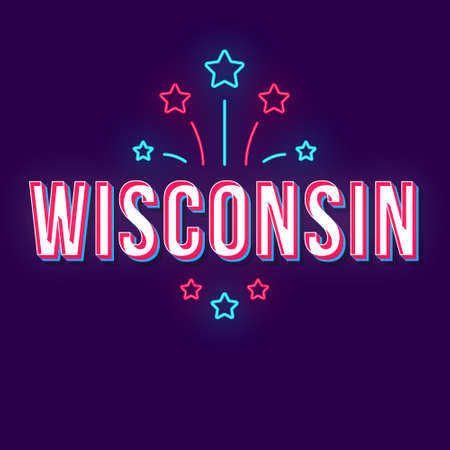 Wisconsin vintage 3d vector lettering. Retro bold font, typeface. Pop art stylized text. Old school style letters. 90s, 80s poster, banner, t shirt typography design. Stars color background  イラスト・ベクター素材