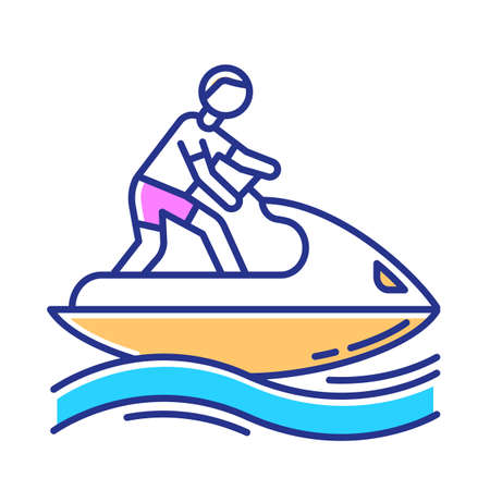 Jetskiing color icon. Summer activity. Jet ski riding. Man on water scooter. Watersports, extreme and dangerous kind of sport. Recreational outdoor activity. Isolated vector illustration