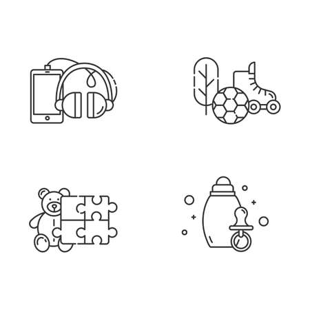 E commerce departments linear icons set. Online shopping categories. Baby products. Devices. Sports and outdoors. Thin line contour symbols. Isolated vector outline illustrations. Editable stroke 向量圖像