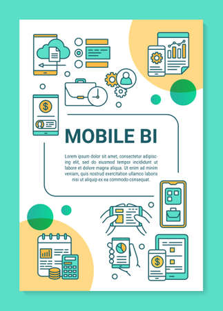 Mobile BI poster template layout. Sales revenue. Mobile business Intelligence. Banner, booklet, leaflet print design, linear icons. Vector brochure page layout for magazine, advertising flyer