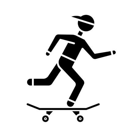 Skateboarding glyph icon. Street culture. Skater riding board. Skating guy. Person performing skateboard stunts. Extreme sport. Silhouette symbol. Negative space. Vector isolated illustration
