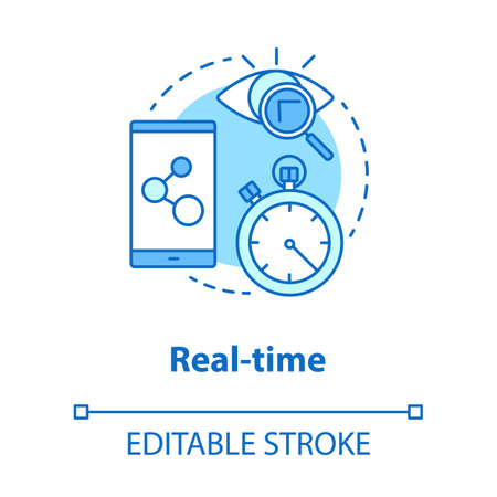 Real-time concept icon. Software development tools idea thin line illustration. Mobile device programming and coding. Application management. Vector isolated outline drawing. Editable stroke