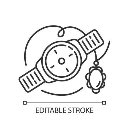 Jewelry and watches linear icon. Luxury accessories. Necklace, bracelet. E commerce department, shopping. Thin line illustration. Contour symbol. Vector isolated outline drawing. Editable stroke