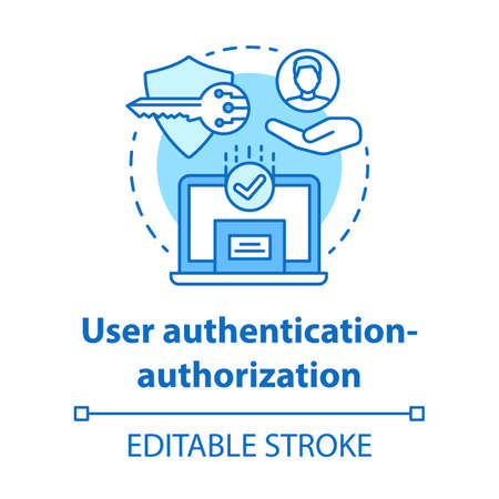 User authentication-authorization concept icon. Software development kit idea thin line illustration. Data encryption. Privacy protection. Vector isolated outline drawing. Editable stroke