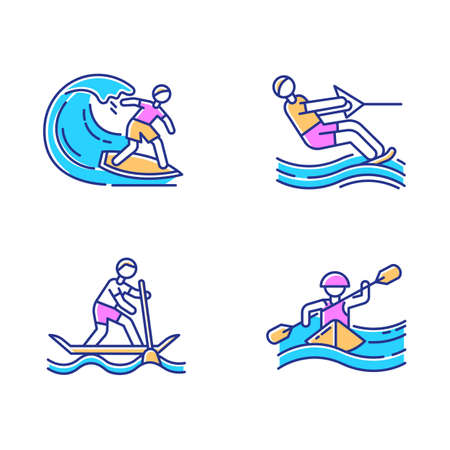 Watersports color icons set. Surfing, water skiing, rafting and sup boarding. Extreme kinds of sports. Summer vacation leisure, adventures. Ocean beach activities. Isolated vector illustrations