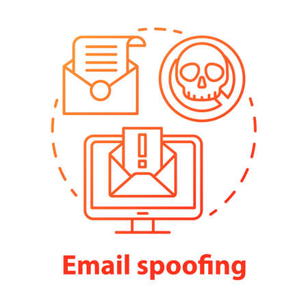 Email spoofing concept icon. Spam and virus protection. Phishing via internet. Hacking victim account. Cybercrime, fraud idea thin line illustration. Vector isolated outline drawing