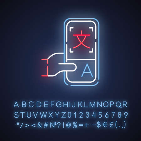 Online dictionary application neon light icon. Instant machine translation. Translation services. Smartphone translator app. E-learning. Glowing alphabet, numbers. Vector isolated illustration