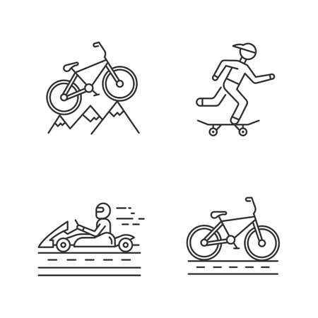 Extreme sports linear icons set. Mountain cycling. Downhill biking. Skateboarding. Karting, open-wheel motorsport. Thin line contour symbols. Isolated vector outline illustrations. Editable stroke