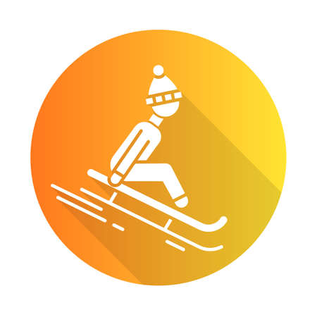Sledding orange flat design long shadow glyph icon. Winter extreme sport, risky activity and adventure. Sleigh riding. Cold season outdoor leisure for children, adults. Vector silhouette illustration