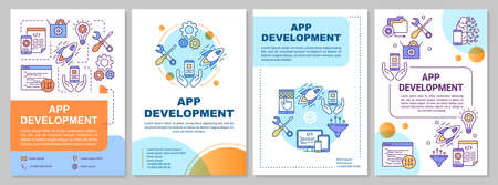 App development brochure template. Mobile programming. Flyer, booklet, leaflet print, cover design, linear illustrations. Vector page layouts for magazines, annual reports, advertising posters Standard-Bild - 133496635