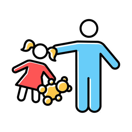 Rape of children color icon. Child harassment, abuse. Victim of assault. Sexual exploitation of kids. Pedophilia of abusers, offenders. Isolated vector illustration