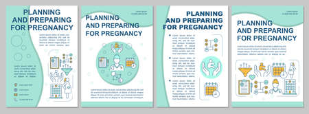 Planning and preparing for pregnancy modern brochure template. Flyer, booklet, leaflet print, cover design with linear illustrations. Vector page layouts for magazines, reports, advertising posters Illusztráció