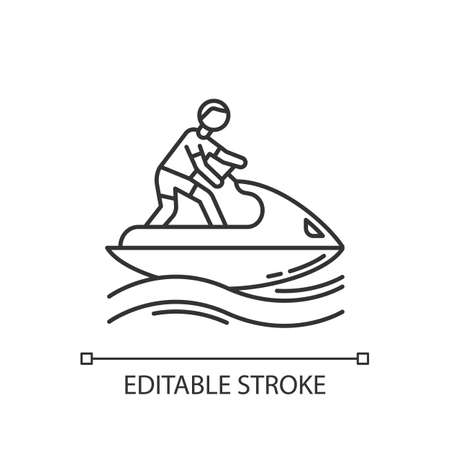 Jetskiing linear icon. Thin line illustration. Summer activity. Jet ski riding. Man on water scooter. Watersports, outdoor activity. Contour symbol. Vector isolated outline drawing. Editable stroke