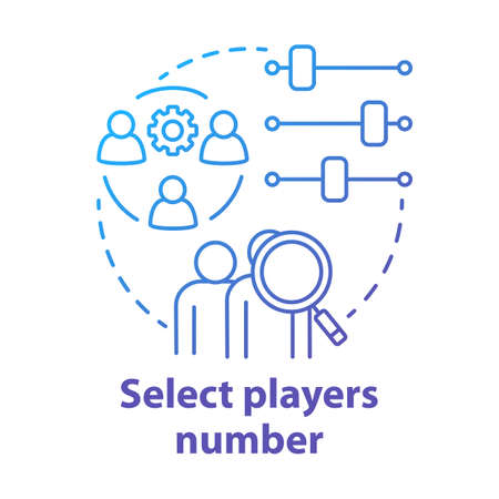 Select players number blue gradient concept icon. Teamwork idea thin line illustration. Choosing and adjusting team. Picking up players quantity. Vector isolated outline drawing
