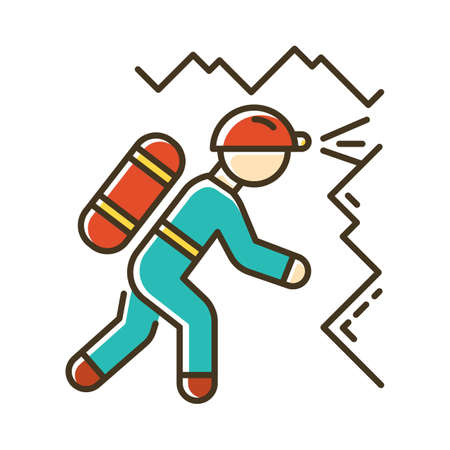 Spelunking color icon. Caving, potholing. Exploring underground caverns. Equipped spelunker, caver. Walking, climbing in caves. Extreme sport. Isolated vector illustration