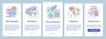 Women healthcare onboarding mobile app page screen with linear concepts. Pregnancy, ovarian cancer, menopause. Walkthrough steps graphic instructions. UX, UI, GUI vector template with illustrations Vektorové ilustrace