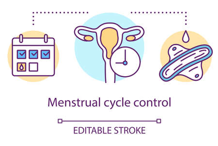 Menstrual cycle control concept icon. Menstruation idea thin line illustration. Women health. Female reproductive system, fertility. Hormone therapy. Vector isolated outline drawing. Editable stroke