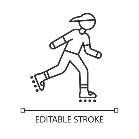 Inline skating linear icon. Freestyle rollerblading. Fitness skating. Thin line illustration. Contour symbol. Vector isolated outline drawing. Editable stroke