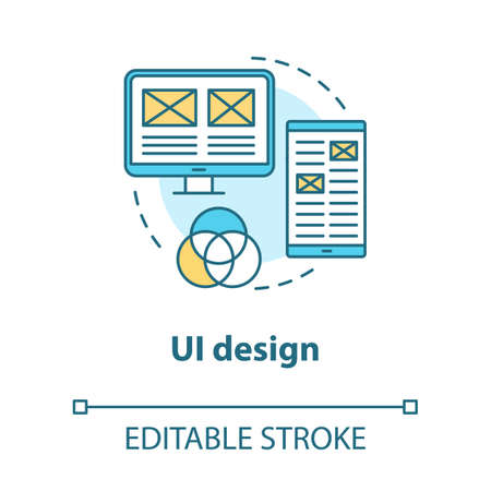 UI design concept icon. Software graphic interface development idea thin line illustration. Designing mobile app visuals for better user experience. Vector isolated outline drawing. Editable stroke