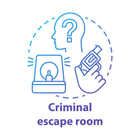 Criminal escape room blue gradient concept icon. Crime theme quest idea thin line illustration. Investigation strategy game. Detective solving mystery, case, murder. Vector isolated outline drawing