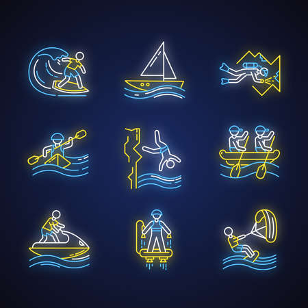 Watersports neon light icons set. Glowing signs. Cave diving, surfing, flyboarding and sailing. Cliff diving, kayaking and windsurfing. Extreme kinds of sports. Vector isolated illustrations