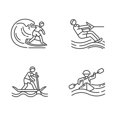 Watersports linear icons set. Surfing, water skiing, rafting and sup boarding. Extreme kinds of sports.Thin line contour symbols. Isolated vector outline illustrations. Editable stroke