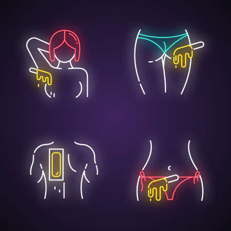 Hot waxing neon light icons set. Armpit, buttocks, back, bikini hair removal. Cold wax strips. Hair depilation. Professional beauty treatment cosmetics. Glowing signs. Vector isolated illustrations Illusztráció