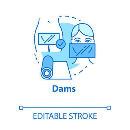 Dams concept icon. Female healthcare. Uterus disease risk prevention. Precaution for healthy intimate relationship idea thin line illustration. Vector isolated outline drawing. Editable stroke